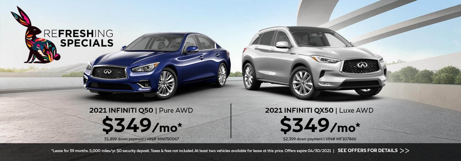 A blue 2021 INFINITI Q50 and a silver 2021 INFINITI QX50