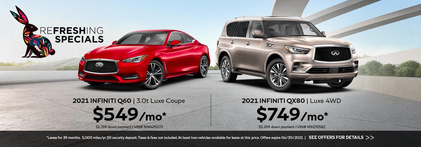 A red 2021 INFINITI Q60 and a beige 2021 QX80