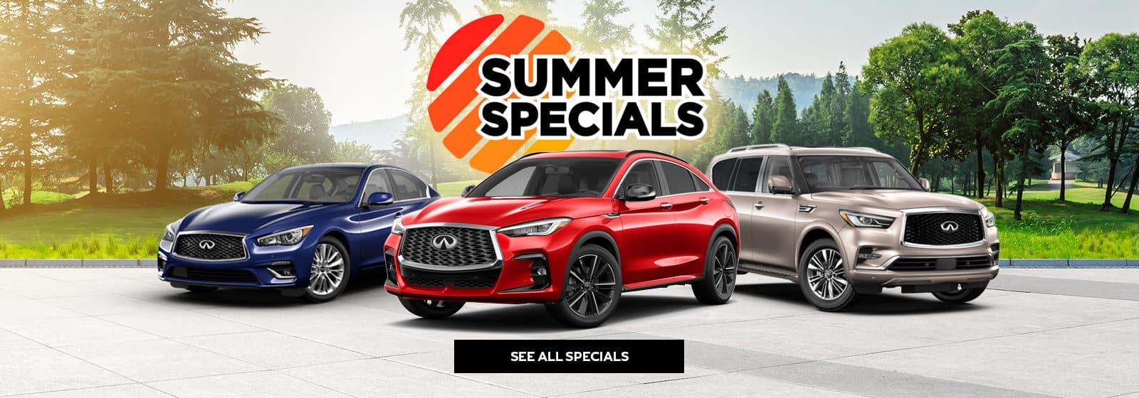 INFINITI summer specials with three INFINITI models shown