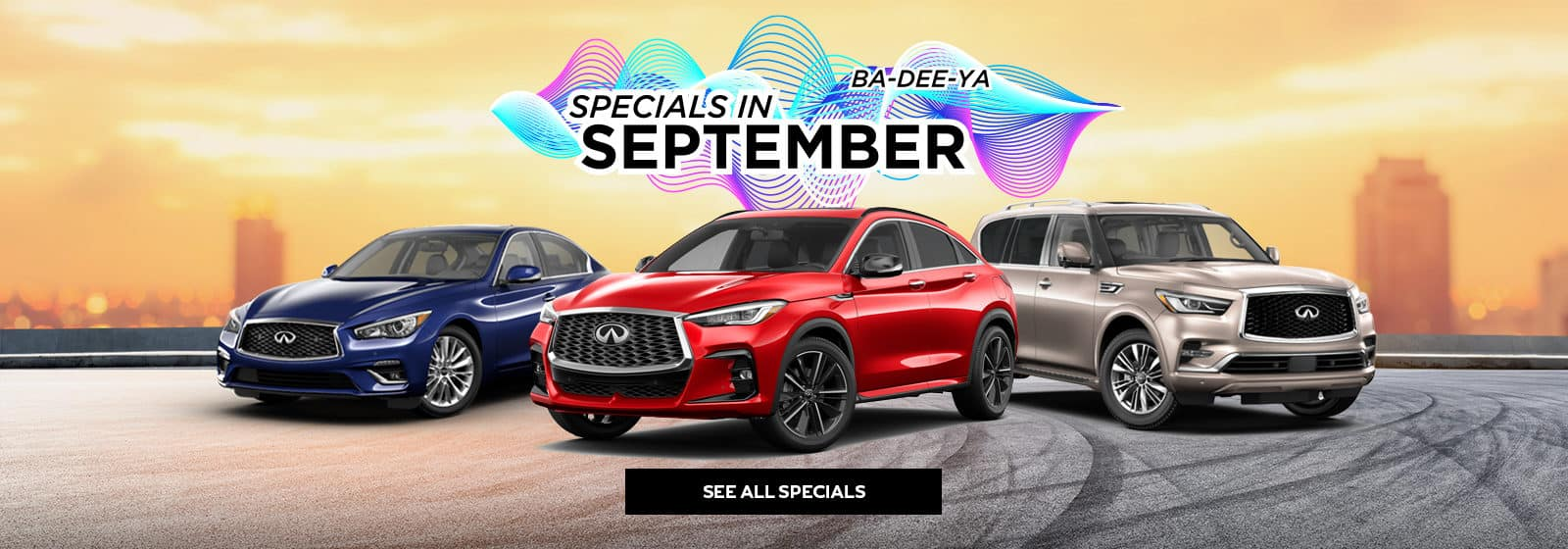INFINITI September Specials line up of 3 models