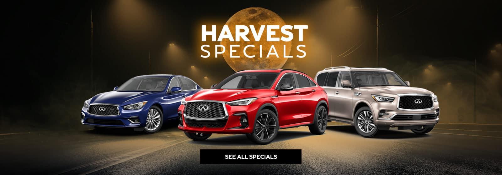 Holman INFINITI October specials showing three INFINITI models
