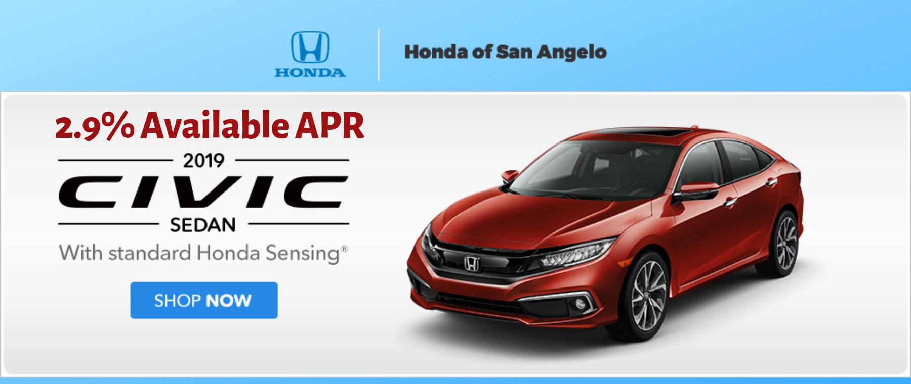 2019 Honda Civic Sedan 2.9% APR