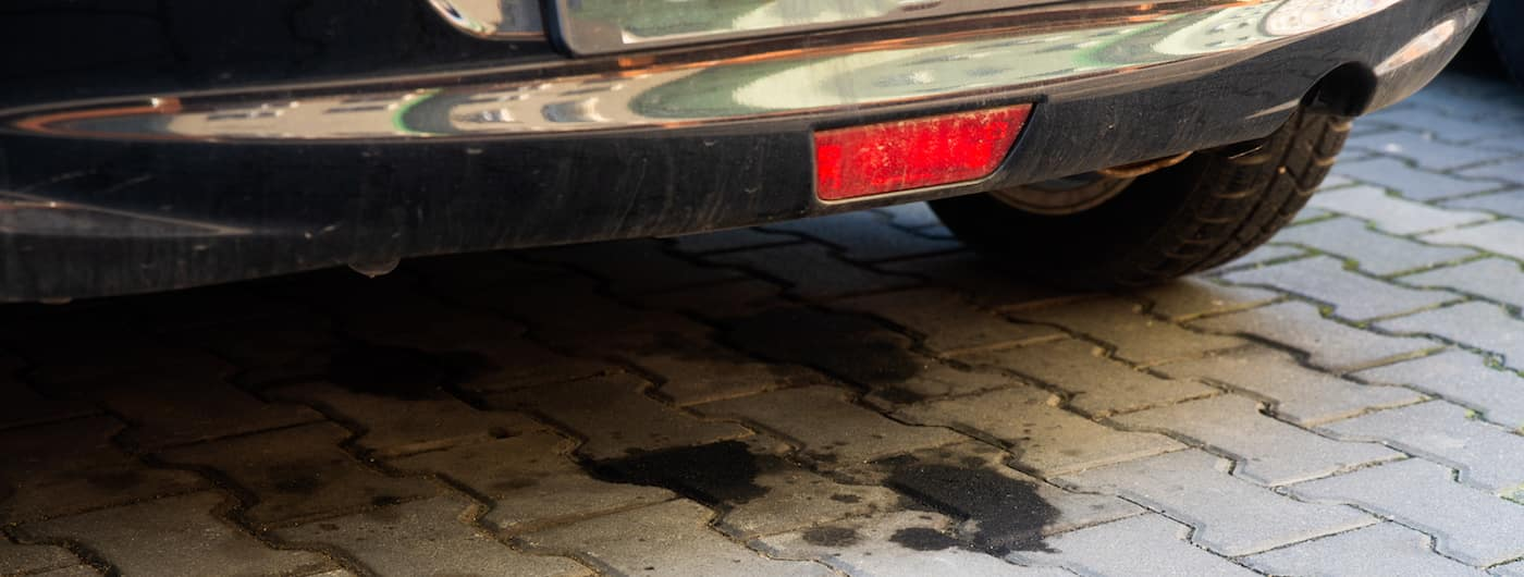 oil leaking from an old car