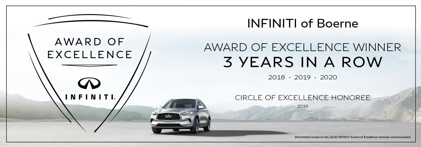INFINITI of Boerne Award of Excellence