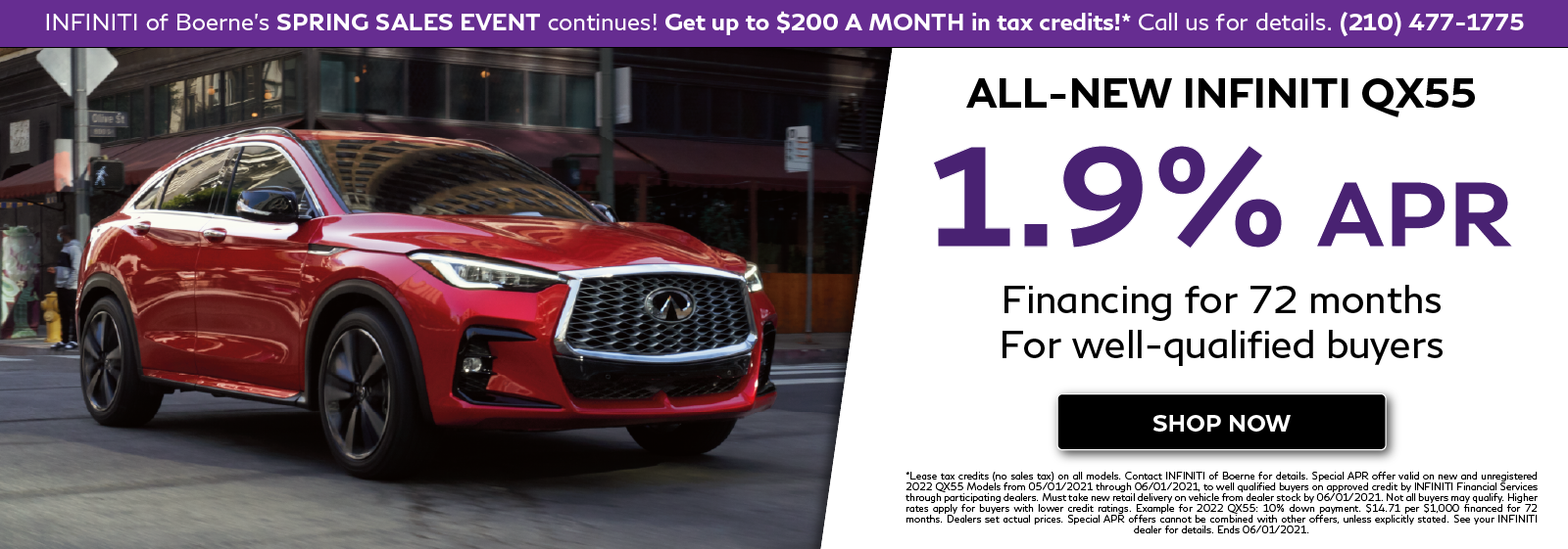 1.9% APR Financing on all-new 2022 INFINITI QX55. Click to shop now.