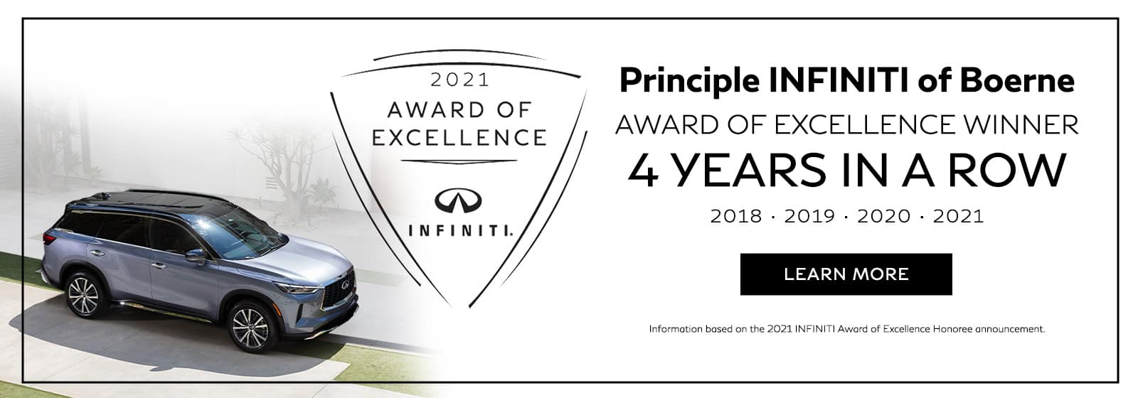 Principle INFINITI of Boerne Award of Excellence