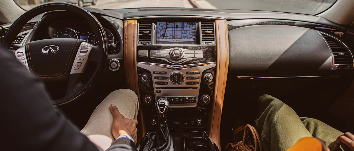 Black and Brown Interior of the QX80