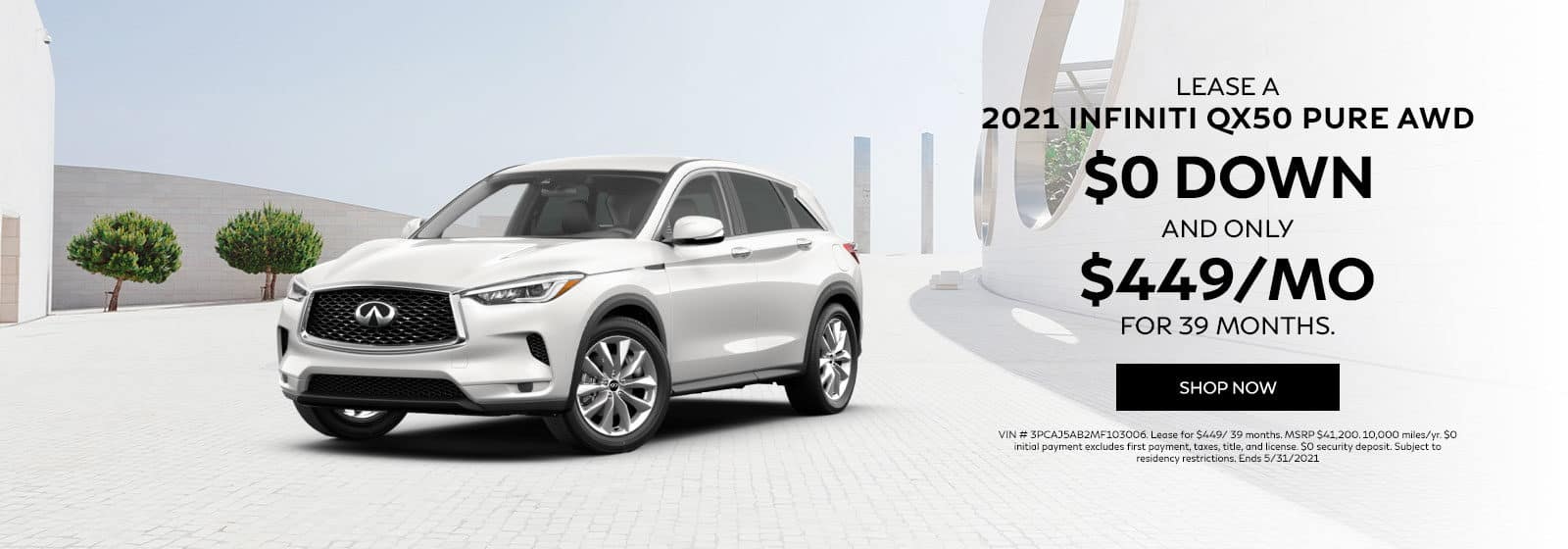 Lease a 2021 QX50 PURE AWD for $449/ 39 months