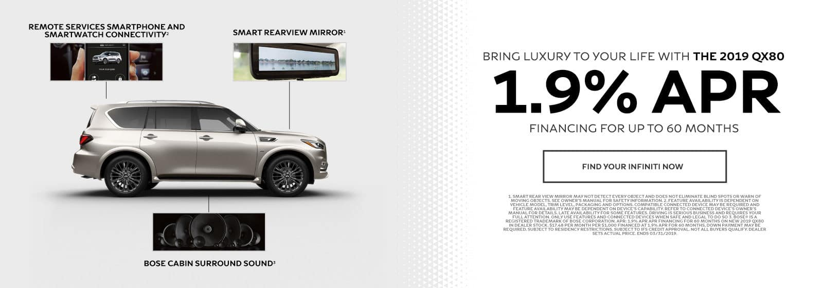 Bring luxury to your life with with the 2019 QX80 - 1.9% APR financing for up to 60 months - Find your INFINITI now