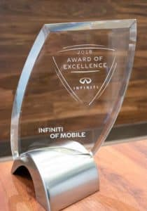 INFINITI of Mobile Award of Excellence Trophy