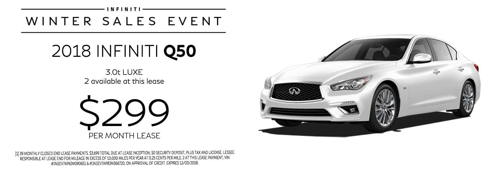 2018 Q50 LUXE | $299 Mo. Lease