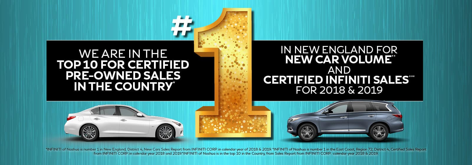 INFINITI of Nashua is in the top 10 for CPO sales in the country for 2018 and 2019.