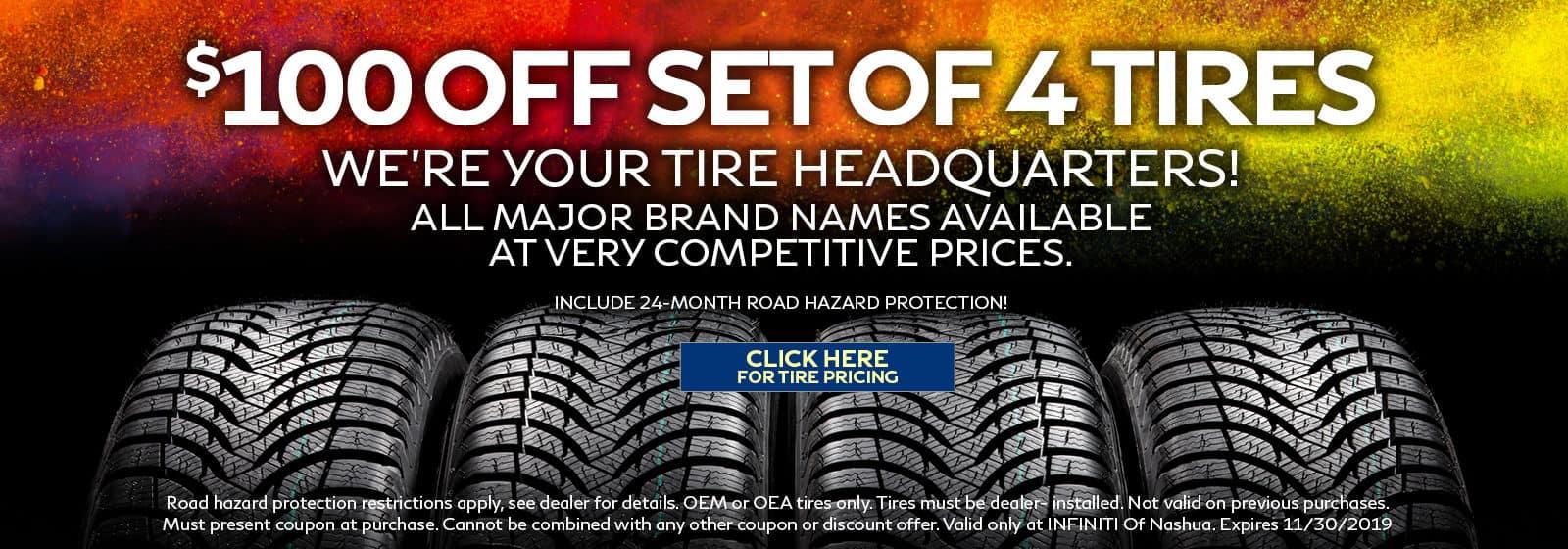 $100 off set of 4 tires
