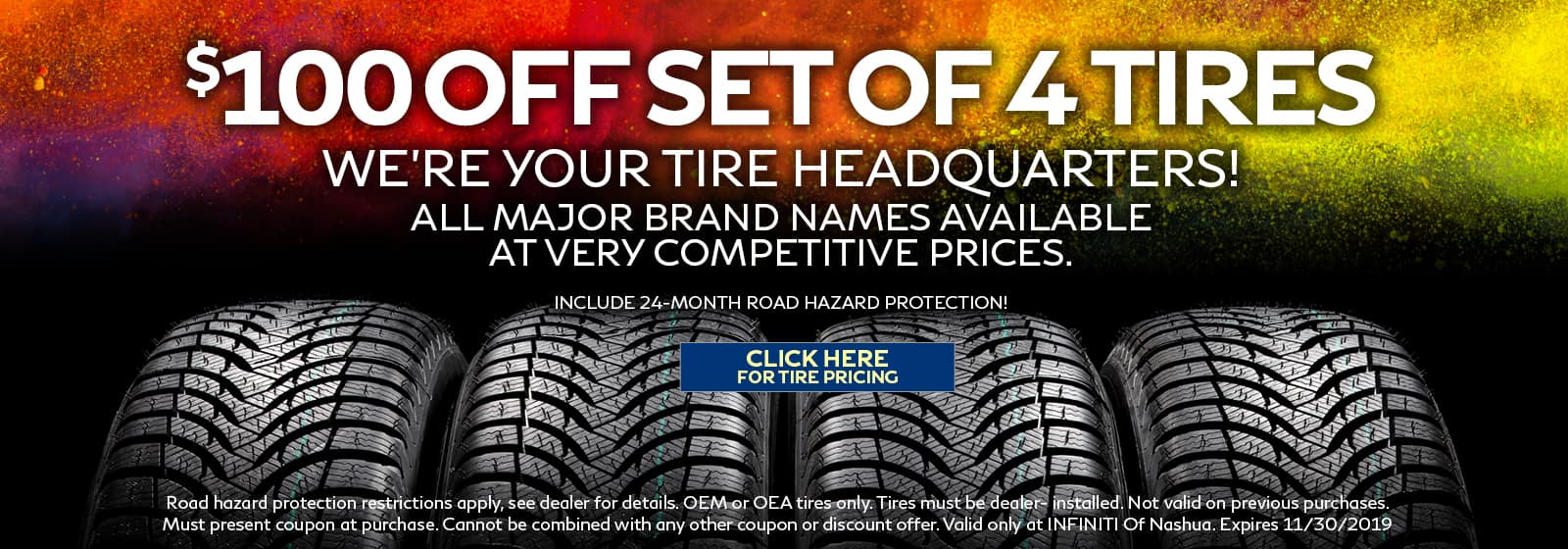 $100 off set of 4 tires