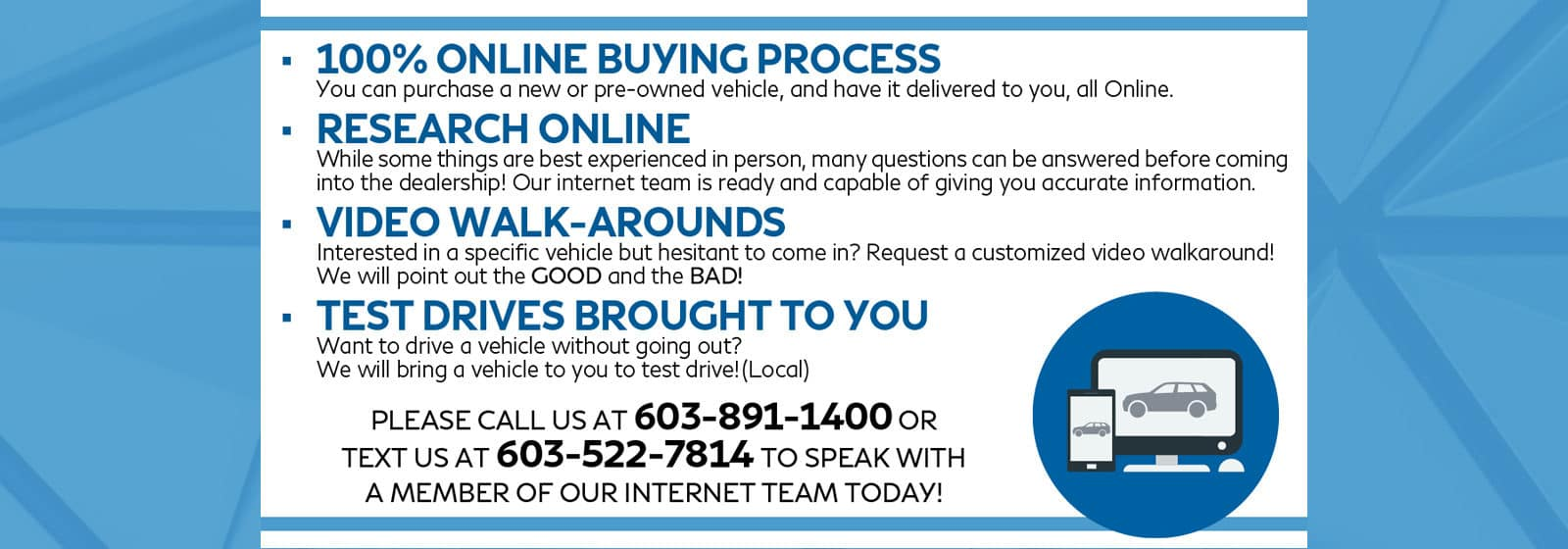 Slide explaining the online buying process. Call dealer at 603-891-1400 for more details.
