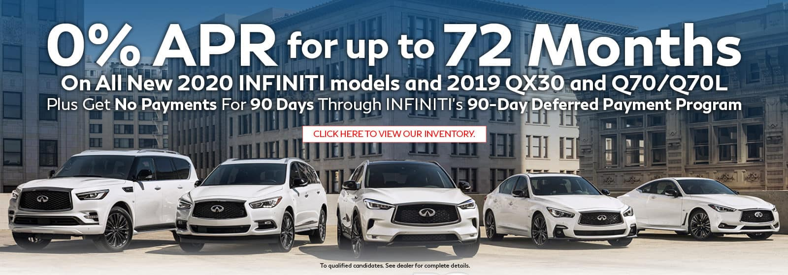 0% APR for all 2020 vehicles for 72 months. See retailer for compete details.