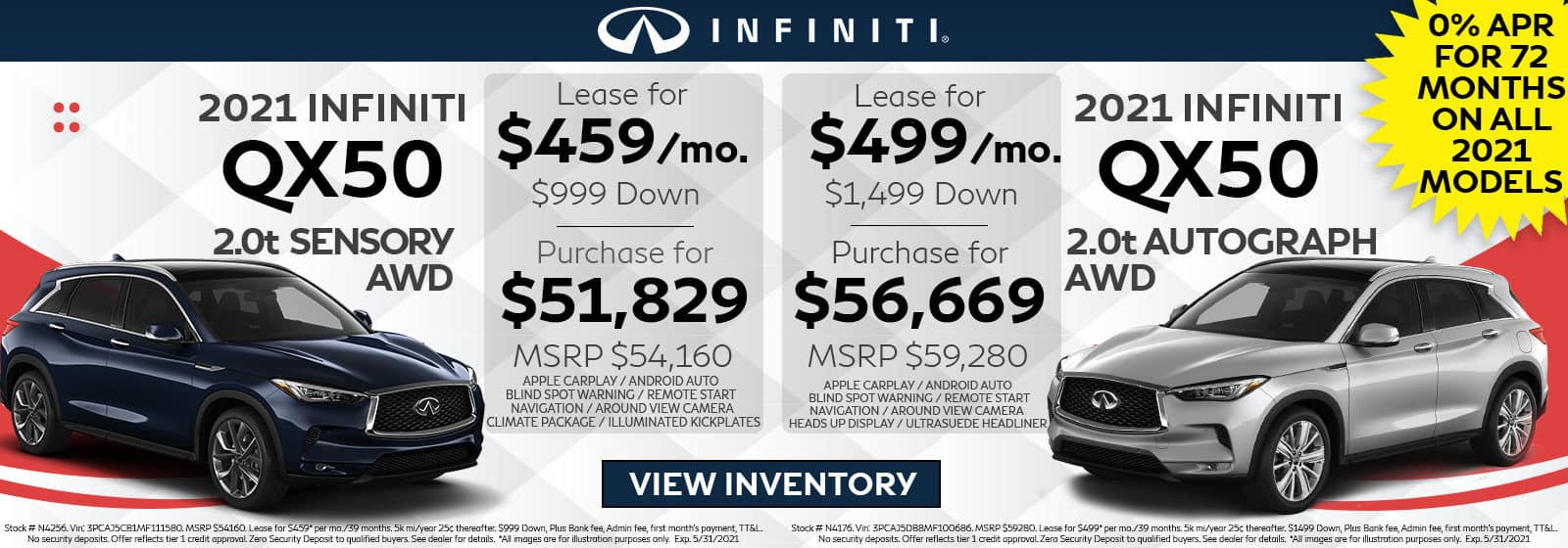 INFINITI vehicles on red and grey background. INFINITI lease and purchase offers. Restrictions apply, see retailer for complete details.
