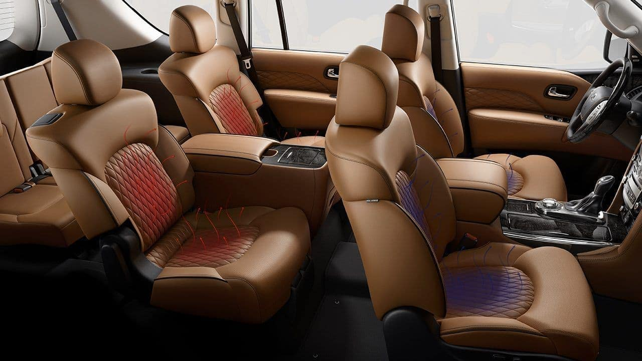 2019 INFINITI QX80 interior in tan leather