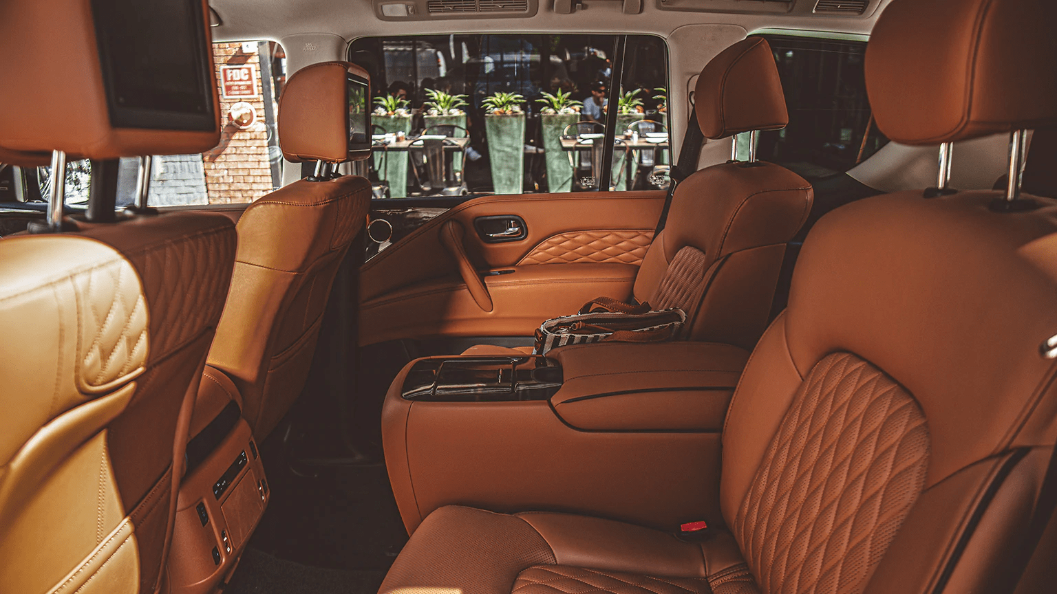 2020 INFINITI QX80 interior in brown leather