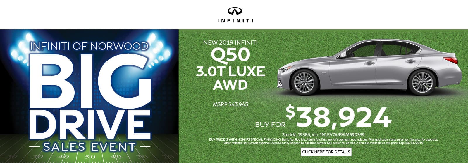 Q50 3.0T Luxe AWD buy for $38,924
