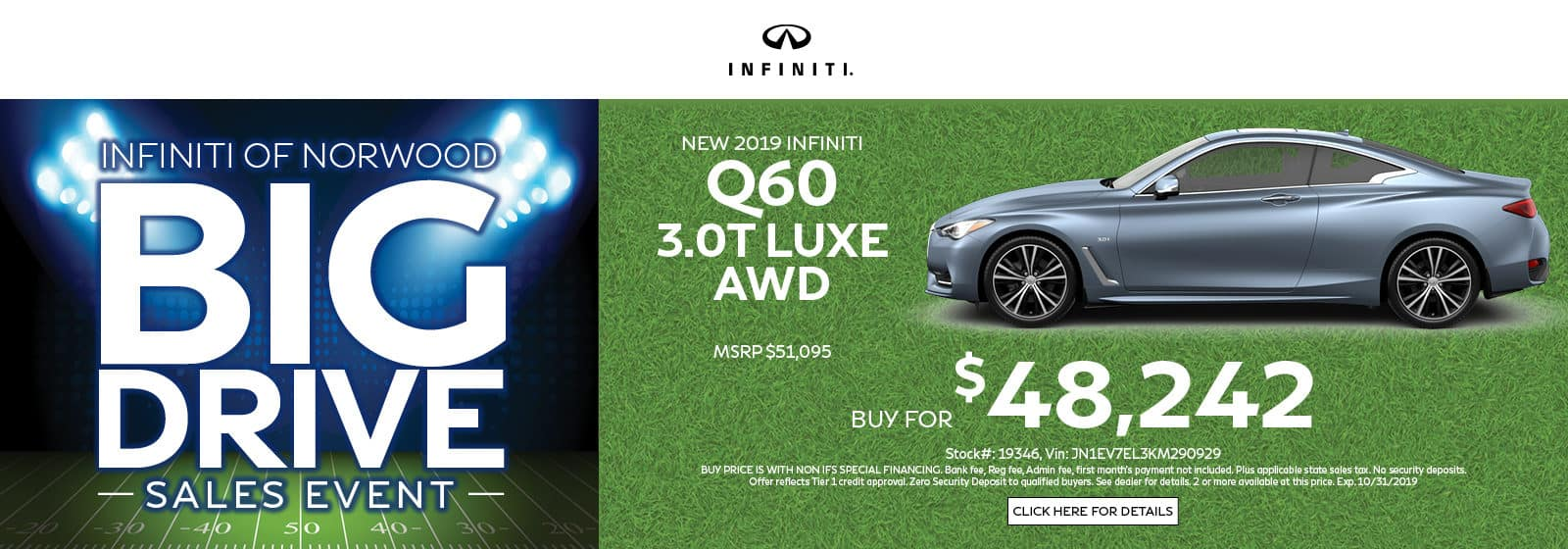Buy a Q60 3.0T Luxe AWD for $48,242