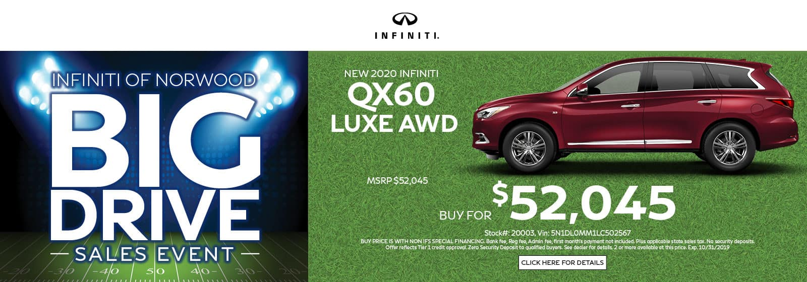 Buy a QX60 LUXE AWD for $52,045