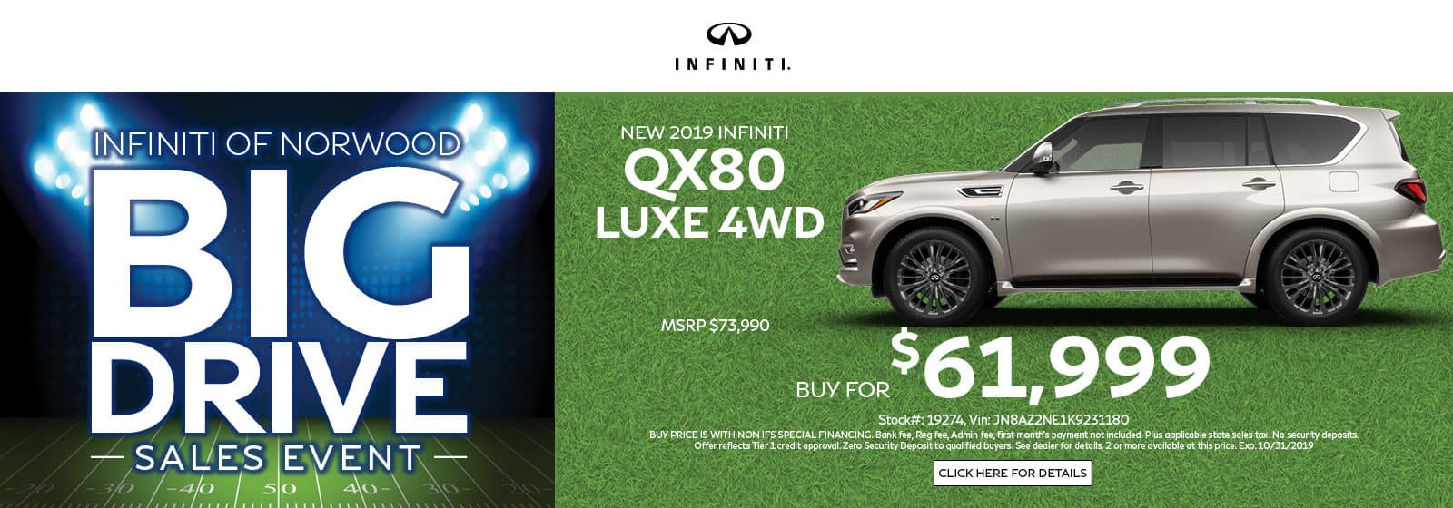 Buy a QX80 LUXE 4WD for $61,999