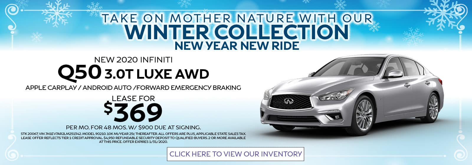 2020 Q50 Winter Collection Lease for $369