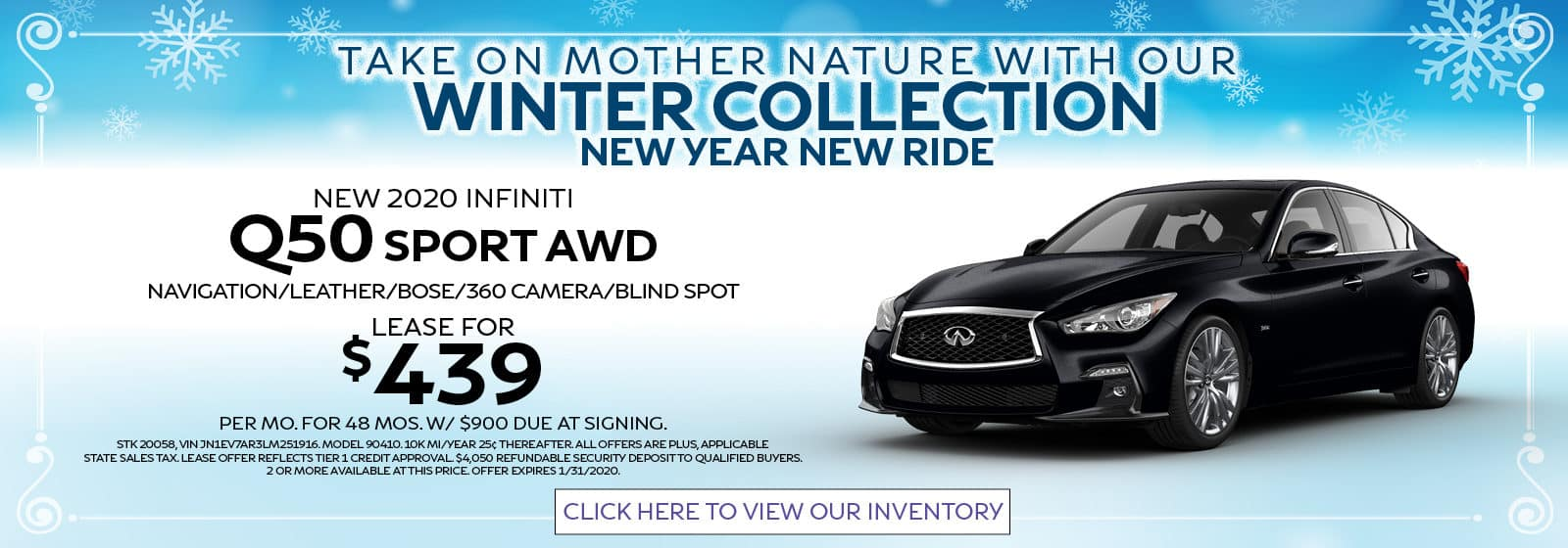 Q50 Sport AWD Lease for $439