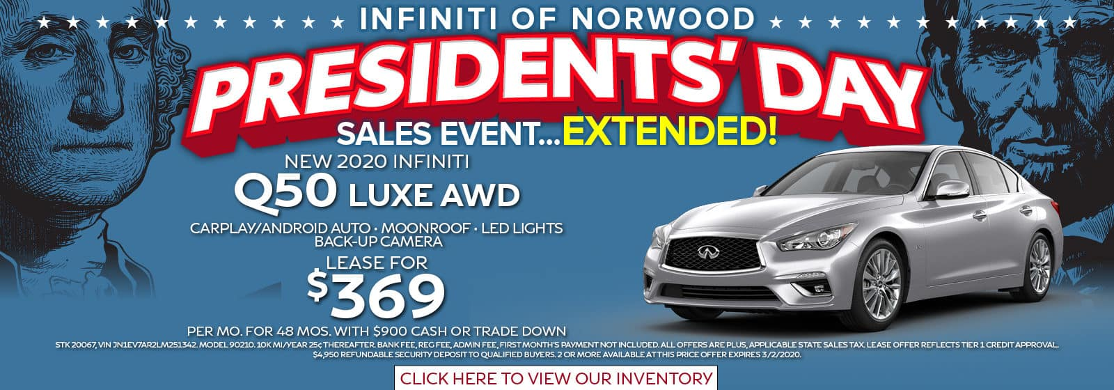 President's Day Sale Extended Lease a Q50 Luxe AWD for $369 per month