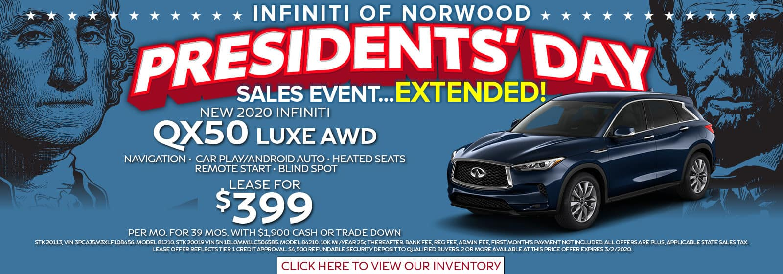 President's Day Sale Extended Lease a QX50 Luxe AWD for $399 per month