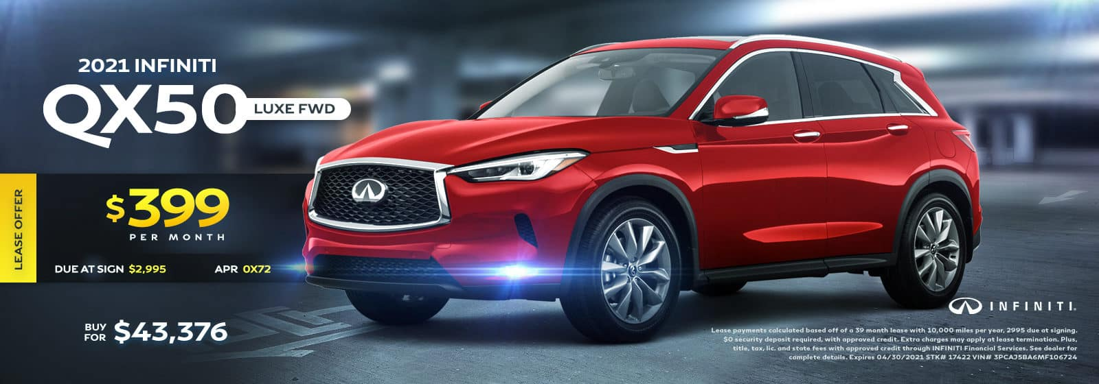 2021 QX50 Luxe AWD April 2021 Offers