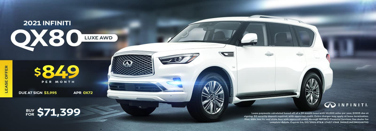 2021 QX80 Luxe AWD April 2021 Offers