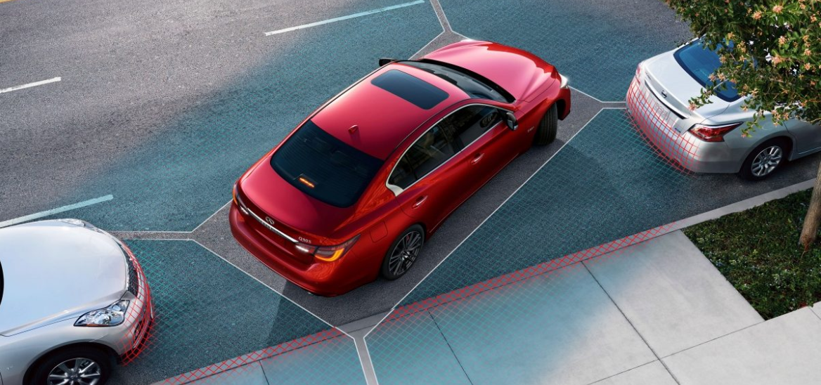 2020 Q50 showing the safety parking feature.