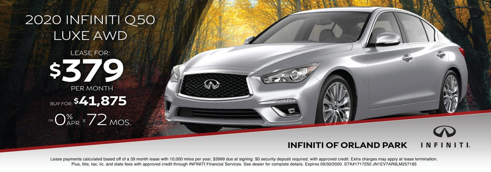 Lease a new 2020 Q50 for $379/month