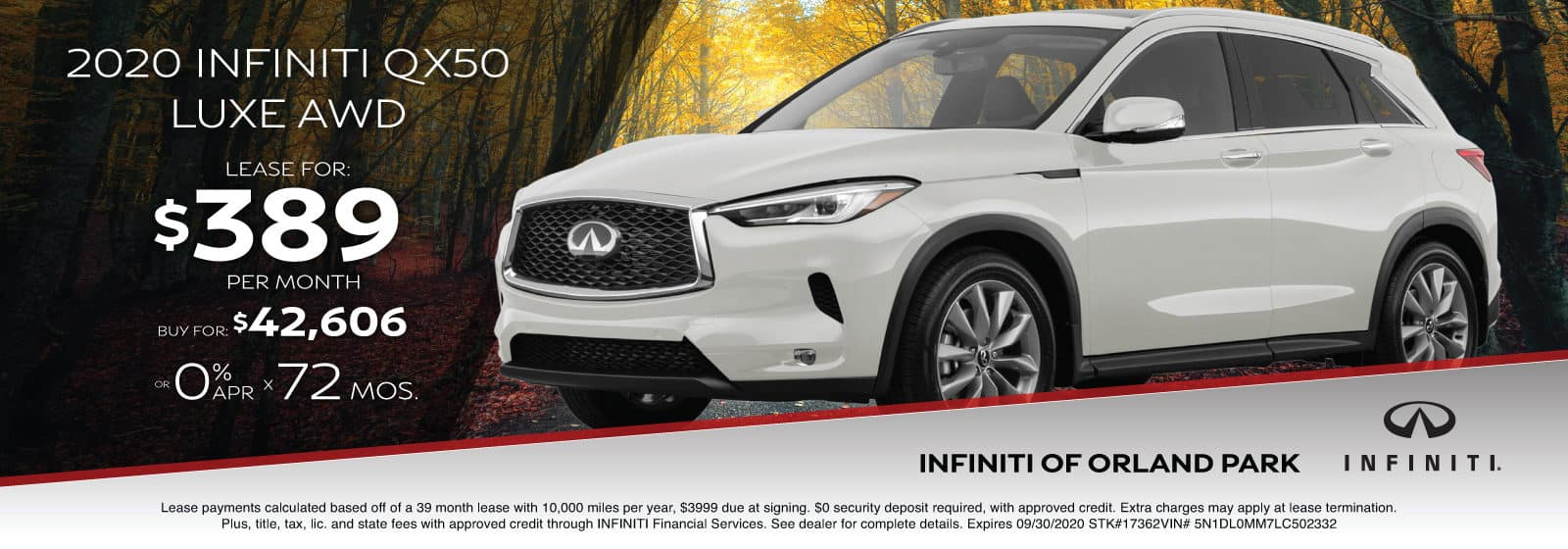 Lease a new 2020 QX50 for $389/month