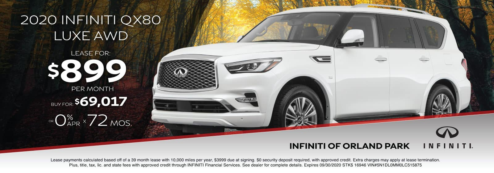 Lease a new QX80 for $899/month