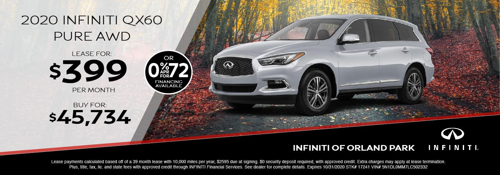 Lease a new 2020 QX60 for $399/month