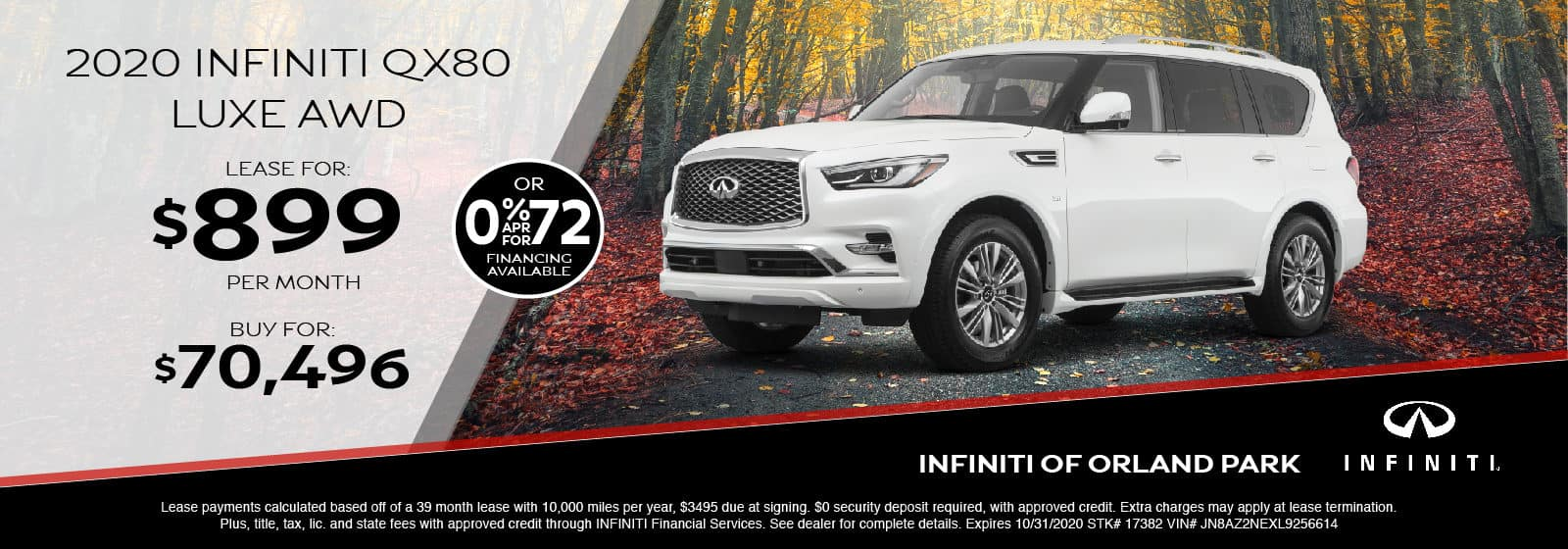 Lease a new 2020 QX80 for $899/month