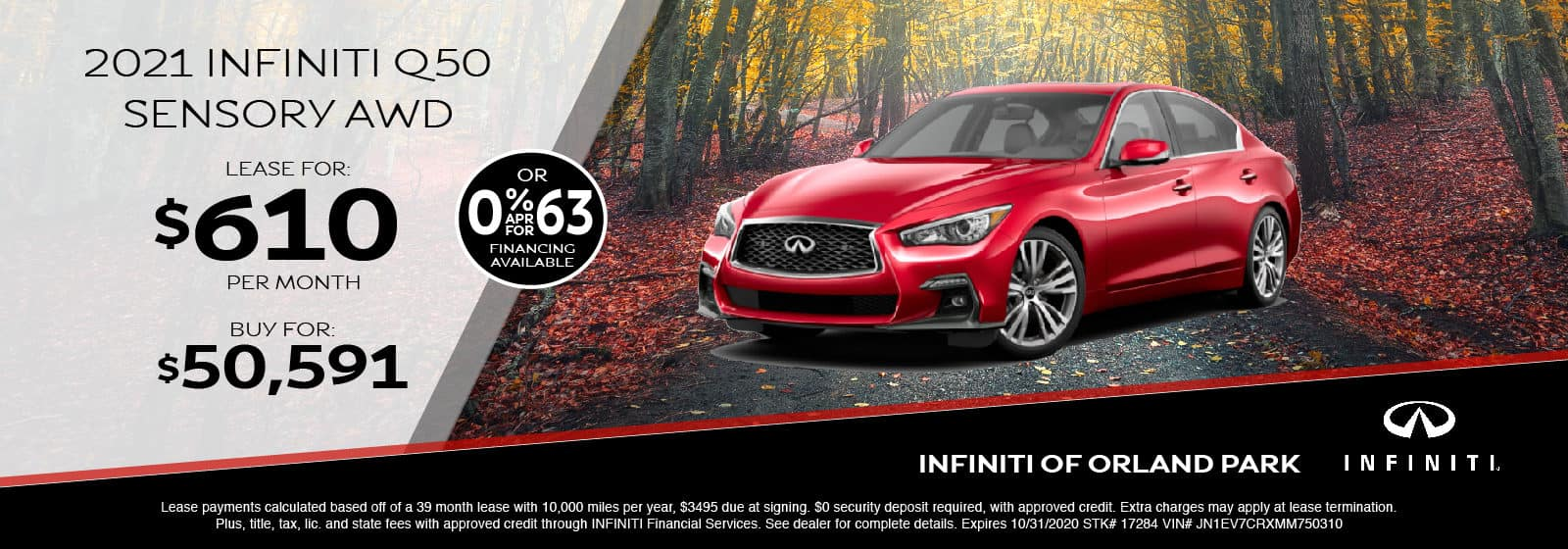 Lease a new 2021 Q50 for $610/month