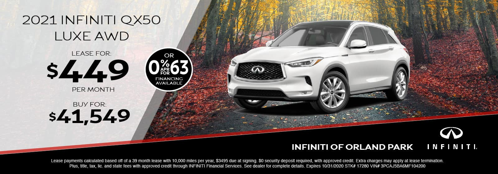 Lease a new 2021 QX50 for $449/month