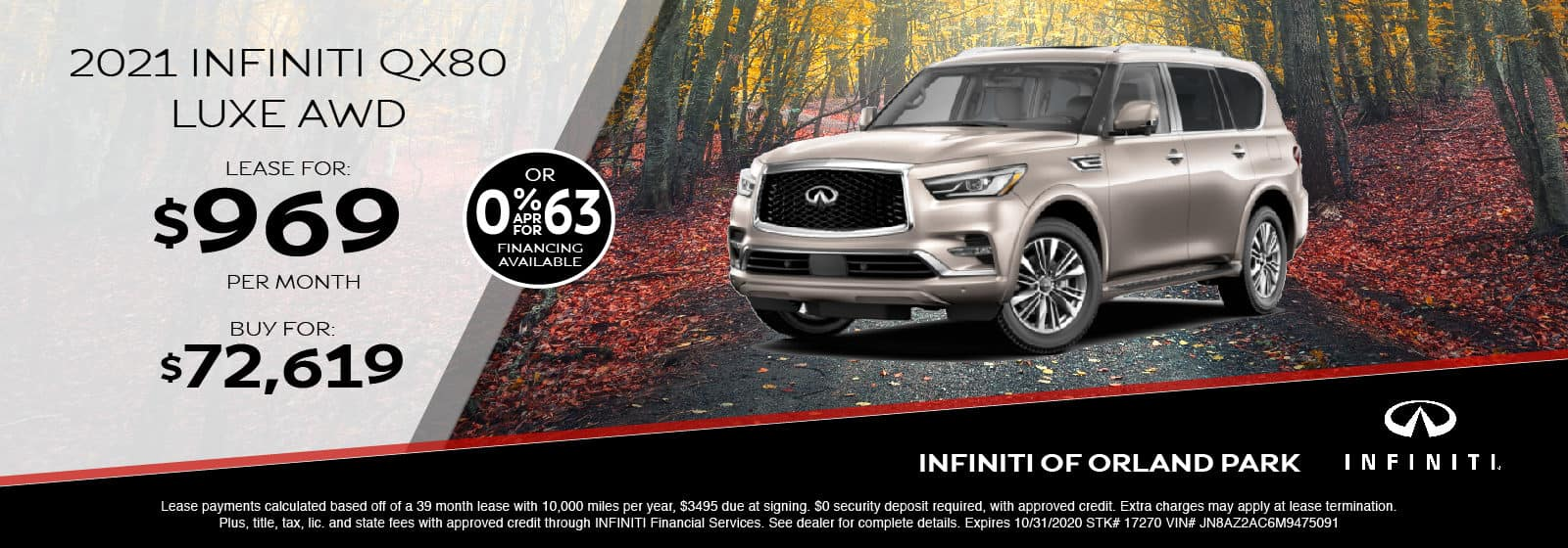 Lease a new 2021 QX80 for $969/month
