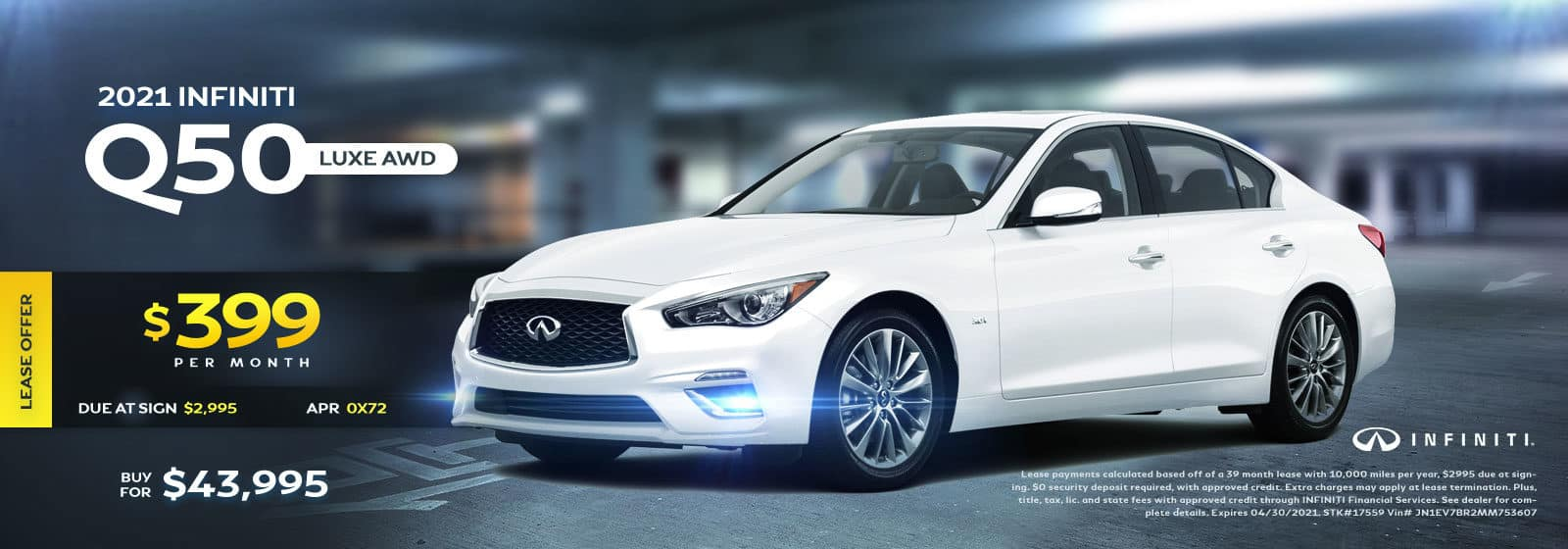 2021 Q50 Luxe AWD April 2021 Offers