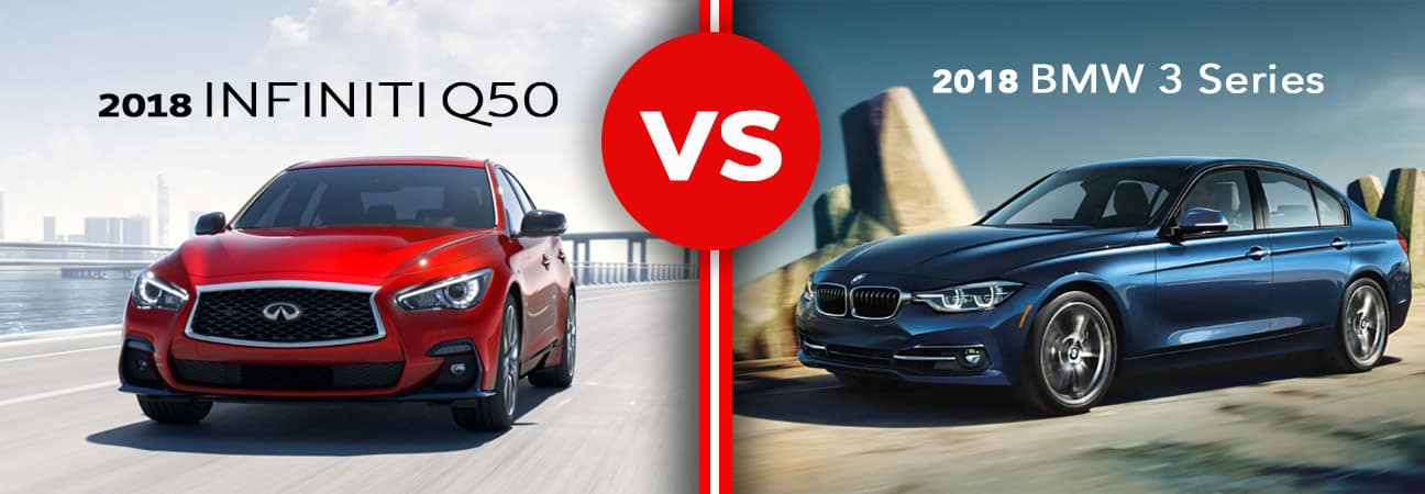 Side by side of red 2018 INFINITI Q50 and blue 2018 BMW 3 Series