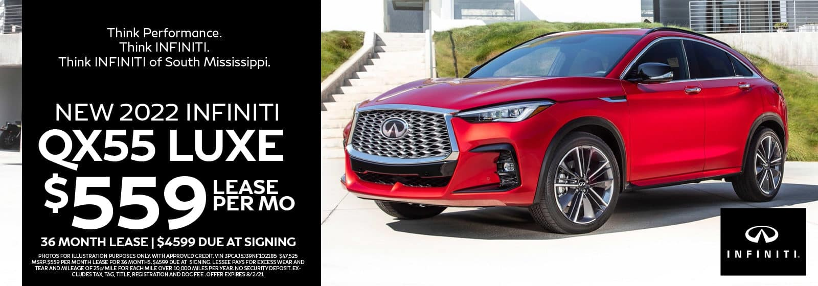 New 2022 INFINITI QX55 for Lease in South Mississippi
