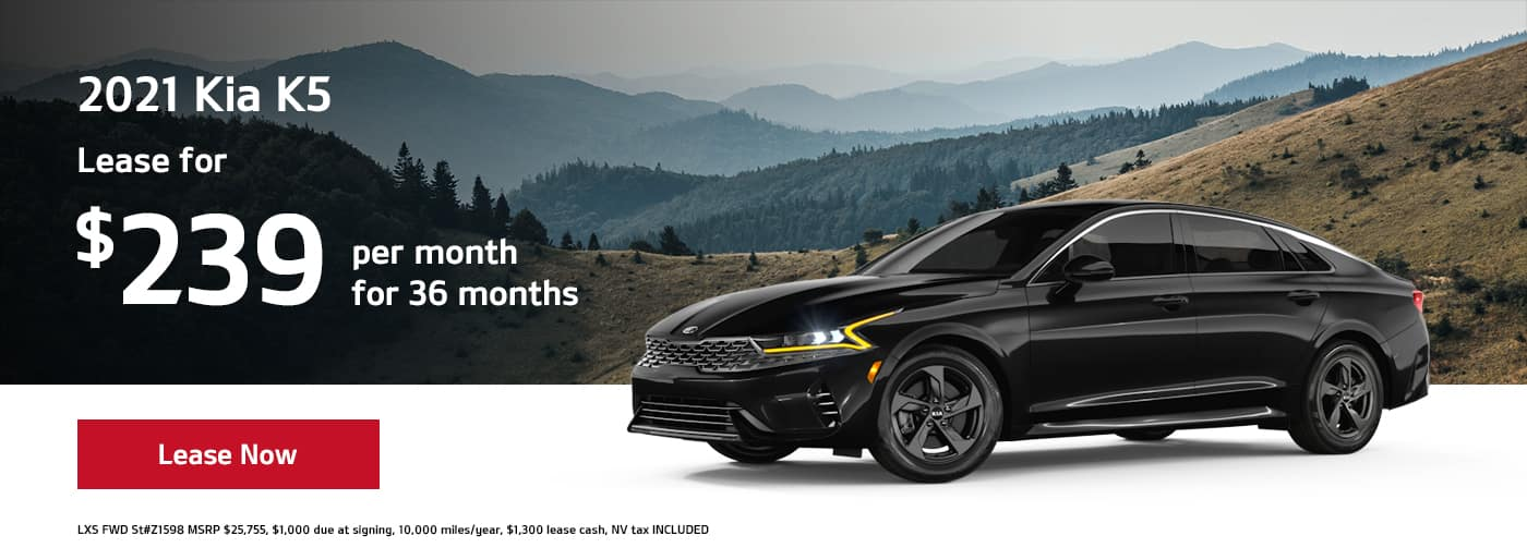 Lease a 2021 K5 for $239 per month for 36 months