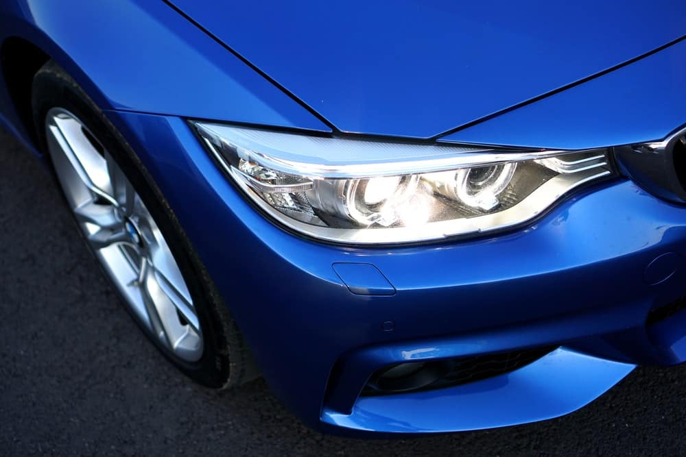 a headlight with slight yellowing or blurs