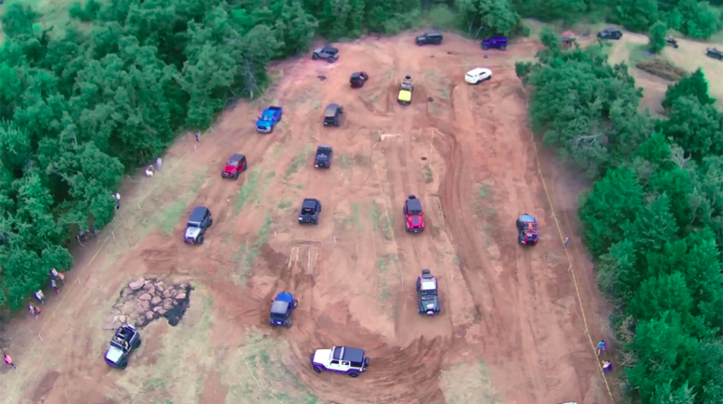 aerial view of Midwest Jeepfest dirt track in Guthrie, Oklahoma