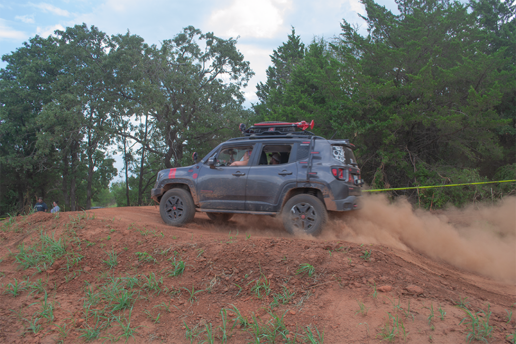 A Jeep Renegade on an offroad track in Guthrie, Oklahoma.