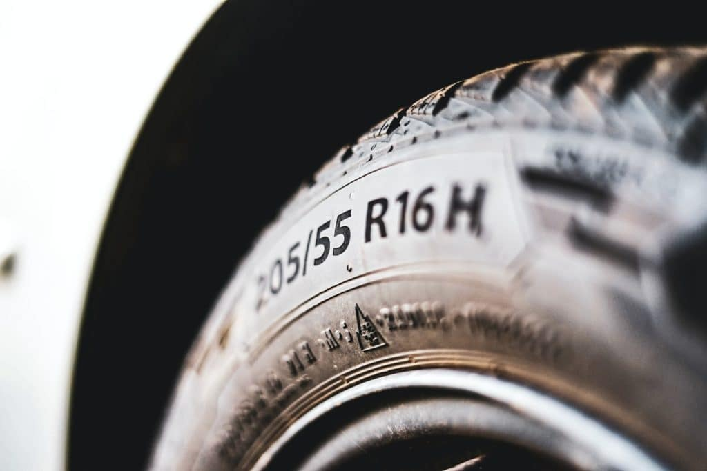 a close shot of a new tire in Edmond, Oklahoma